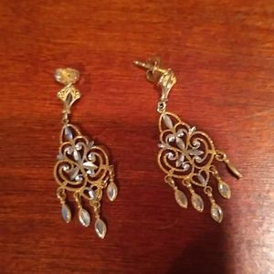 14-kt gold yellow & white gold chandelier earrings